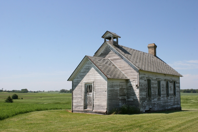 The Le Sueur School District 18 schoolhouse, located at 35278 141st Avenue, rural Montgomery, Minnesota.