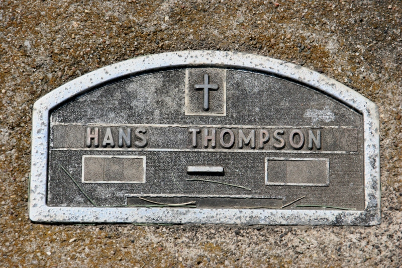 Dates are missing from the in-ground marker of Hans, whom I believe to be an early immigrant.