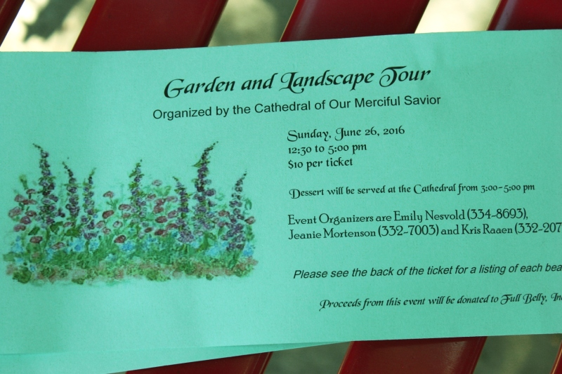 The beautifully-designed tickets, complete with directions to the gardens on the back.