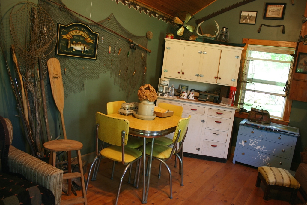 I opened the aged screen door on an outbuilding to discover this 50s style retreat.
