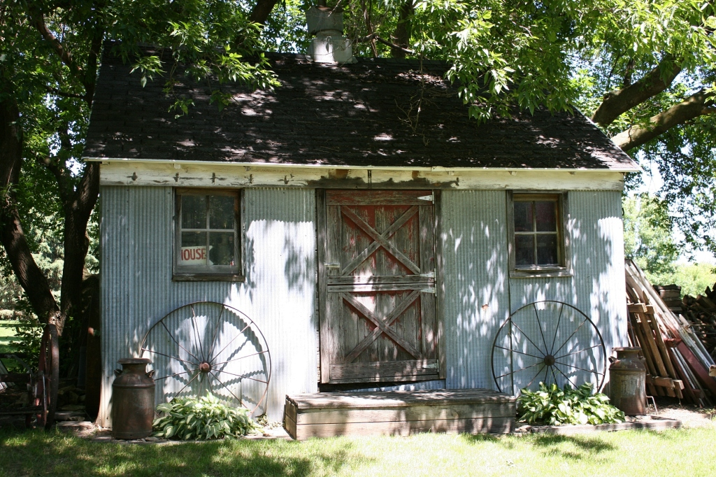 Outbuildings dot the Glendes' rural property.
