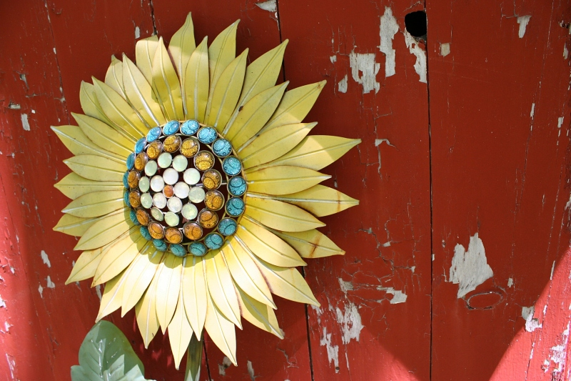 Flower art provides a jolt of color.