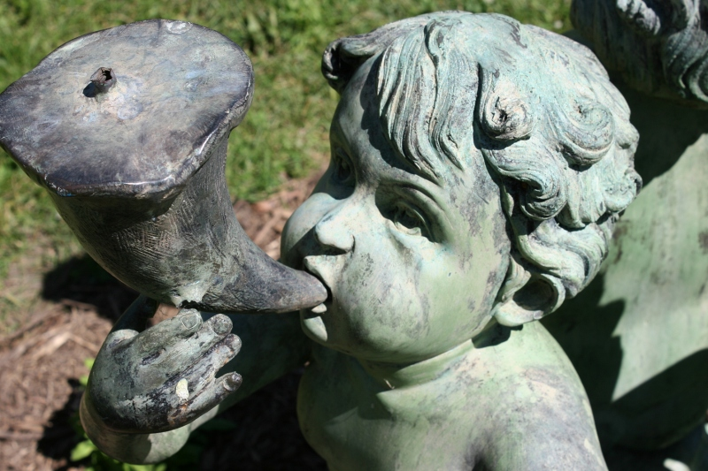 Sculptures abound in the gardens.