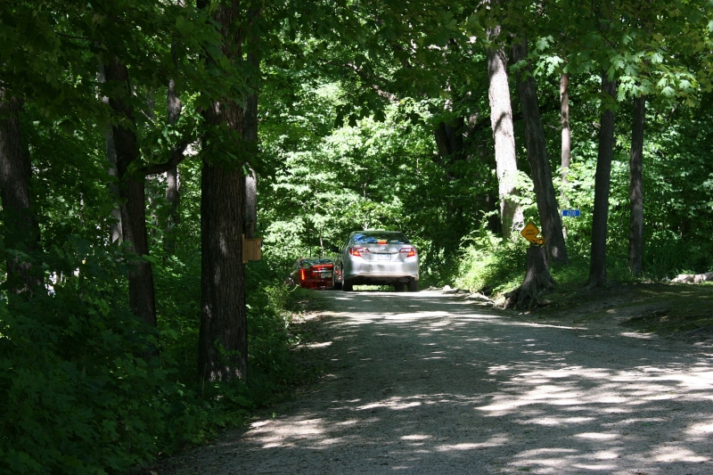 Vehicles exit the McAdam property along a narrow wooded lane.
