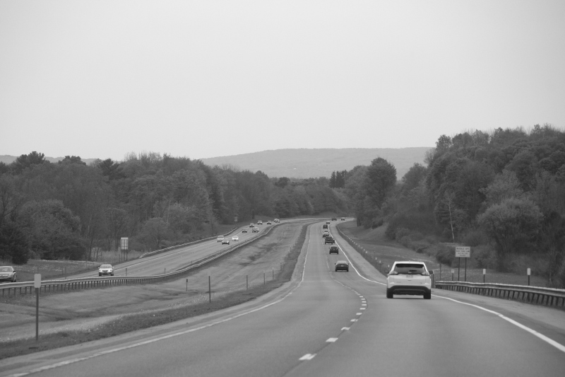 Traveling on Interstate 90 somewhere in upstate New York.