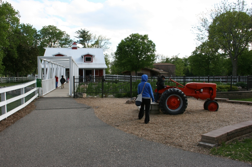 Kids can climb aboard this tractor and another on the adjoining playground.