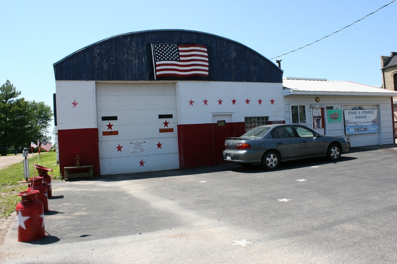 The Stars & Stripes Garage, seven years after I first painted it.
