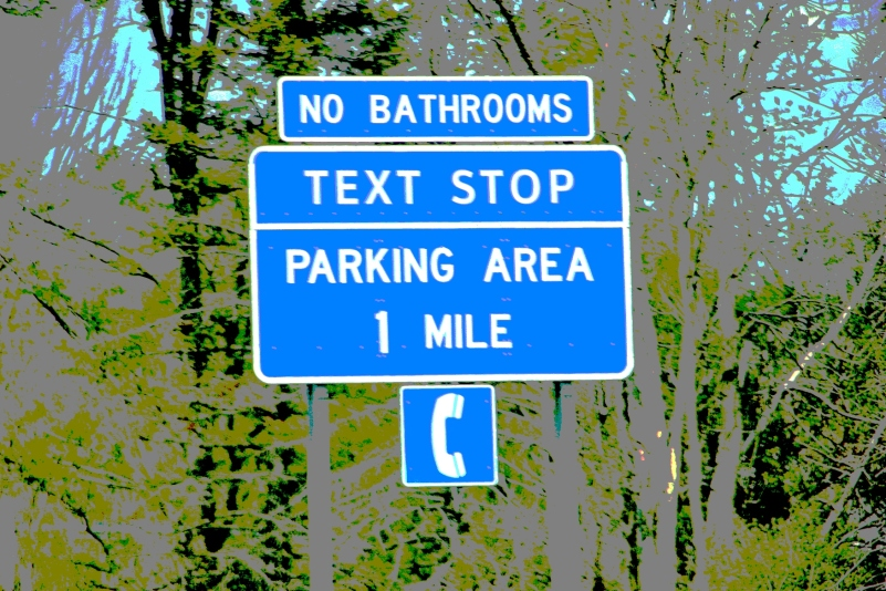 Text stop sign in New York