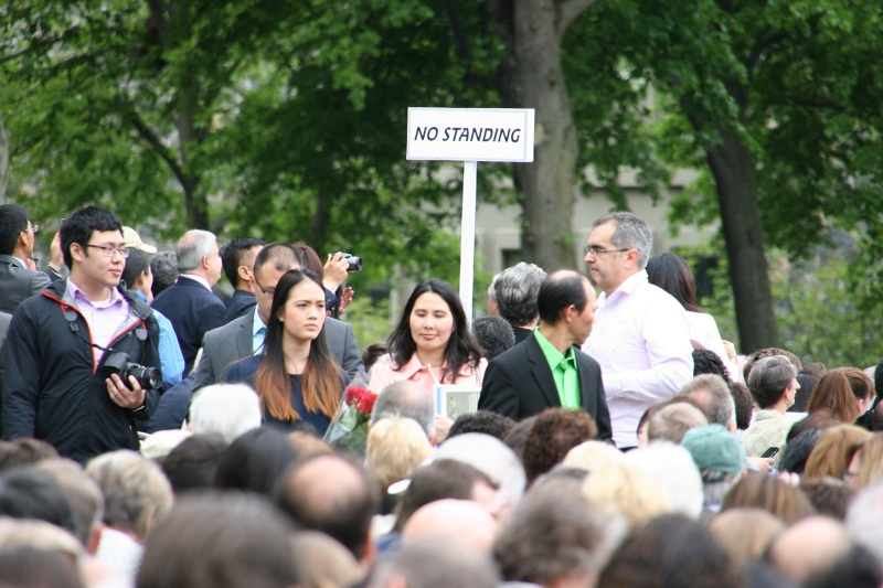 A snapshot of the crowd before the all-school commencement began.