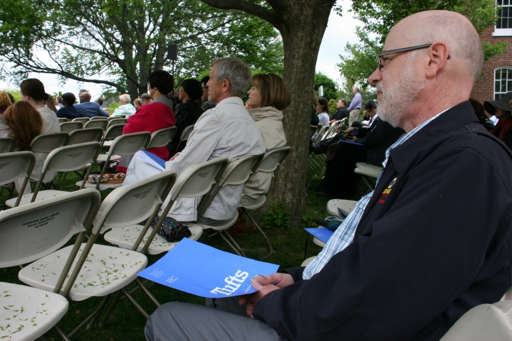 My husband, Randy, waits for the first of two commencement ceremonies to begin.