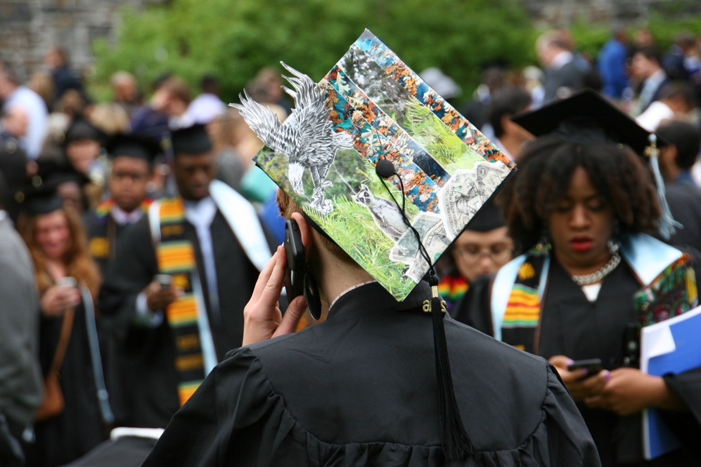 A Tufts University graduate decorated her graduation hat.