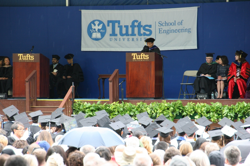 The commencement ceremony begins at The School of Engineering, Tufts University.