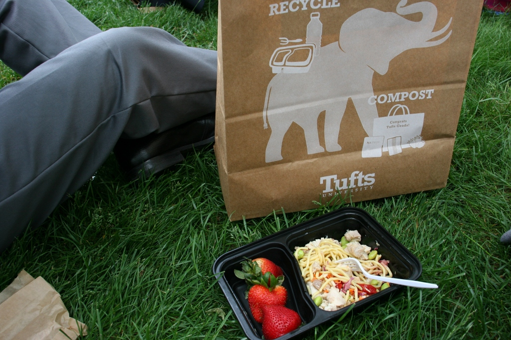 After the two commencement ceremonies, we were finally able to eat a picnic lunch--salad, strawberries and a bar--on a grassy hillside.