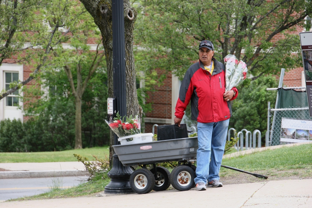 Vendors hawked flowers before and after commencement ceremonies.