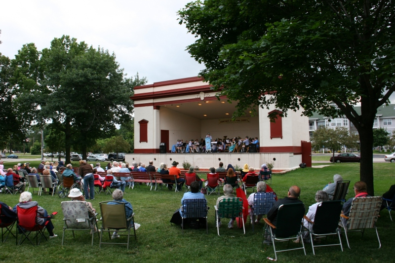 The Bavarian Musikmeisters, a 35-member band, perform on July 14 at Faribault's Central Park.