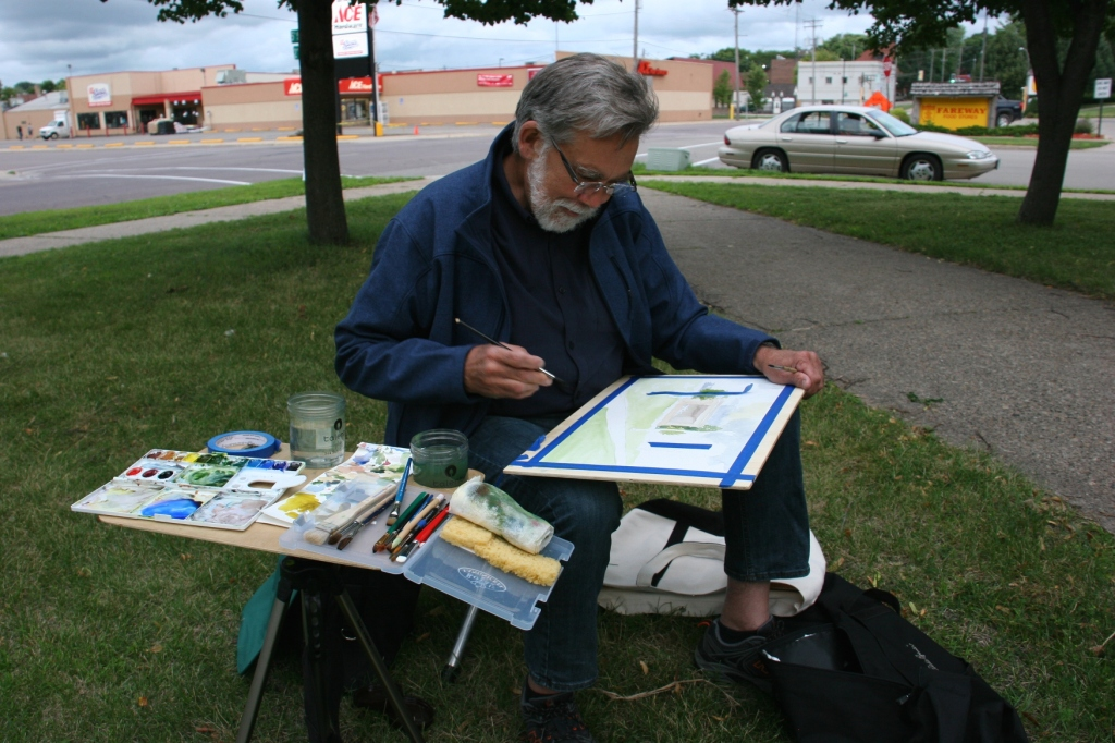 This Faribault resident and novice watercolor painter set up in the southeast corner of Central Park, from the crowd so he could work solo.
