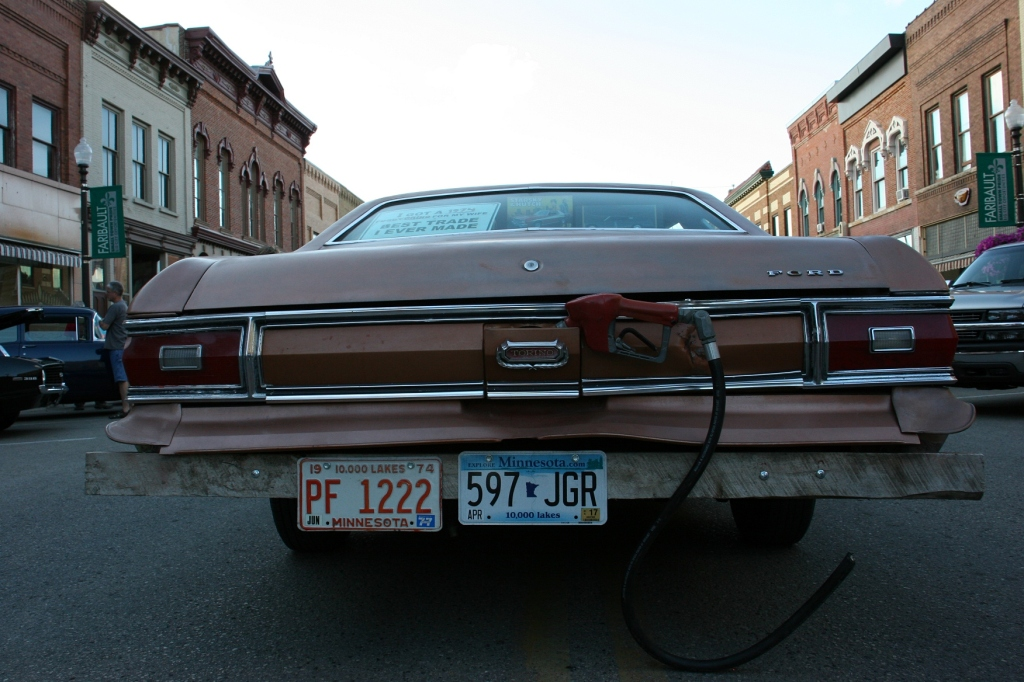 A show of humor on the back of a 1974 Ford Torino.