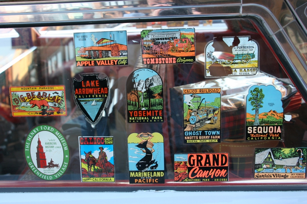 Park stickers grace the window of a 1959 Edsel Village Wagon.