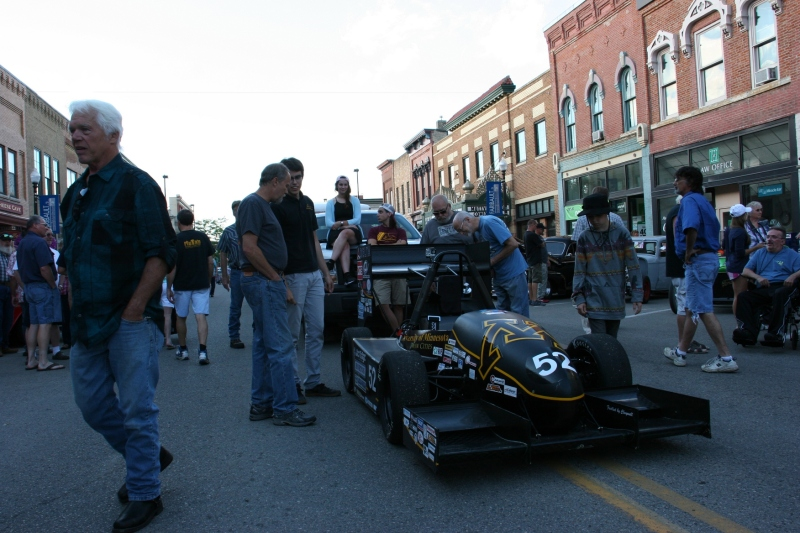 The University of Minnesota Gopher Motorsports team brought their global Formula SAE series race car to cruise night .