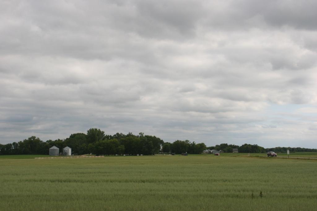 Looking toward the festival site among farm fields.