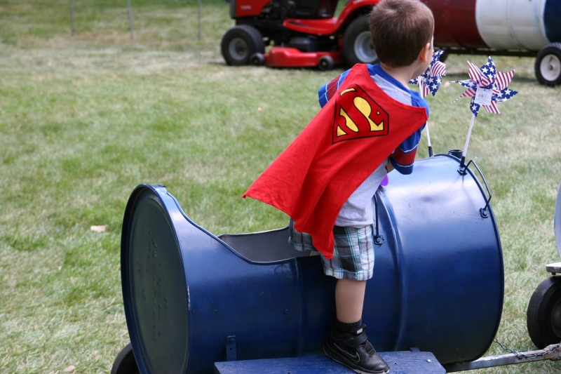 Even Superman rode the barrel train.