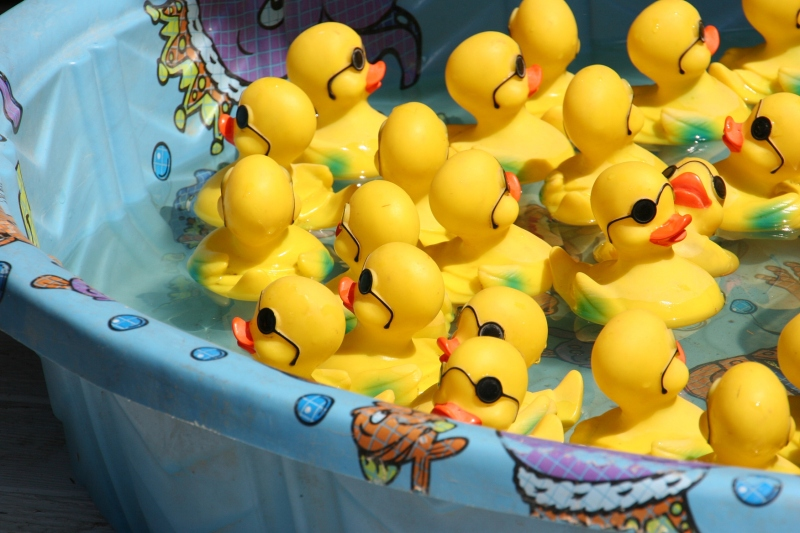 In New York City, boats shot fireworks. In North Morristown, the only body of water was a kids' wading pool holding rubber duckies for a carnival game.