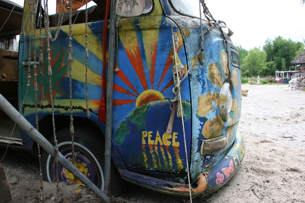 A vintage van becomes a work of art at Hot Sam's.