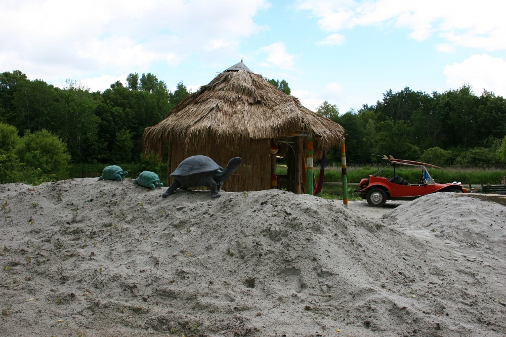 Sand is hauled in to help stage the beach scenes like this cabanna, added since my last visit.