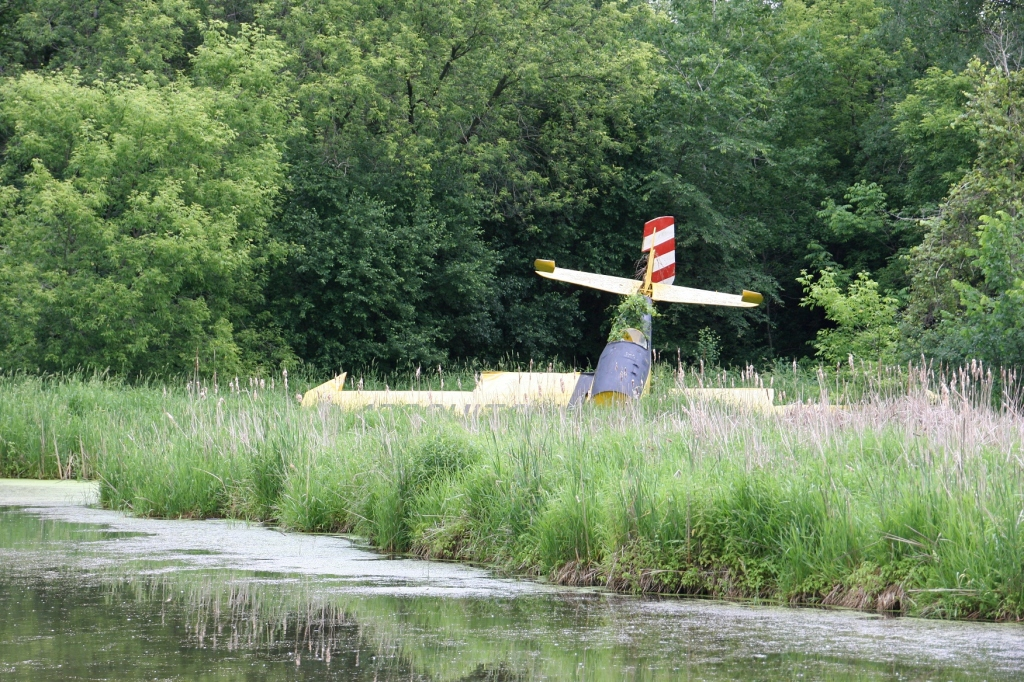 Don't miss the crashed plane on the other side of the pond.