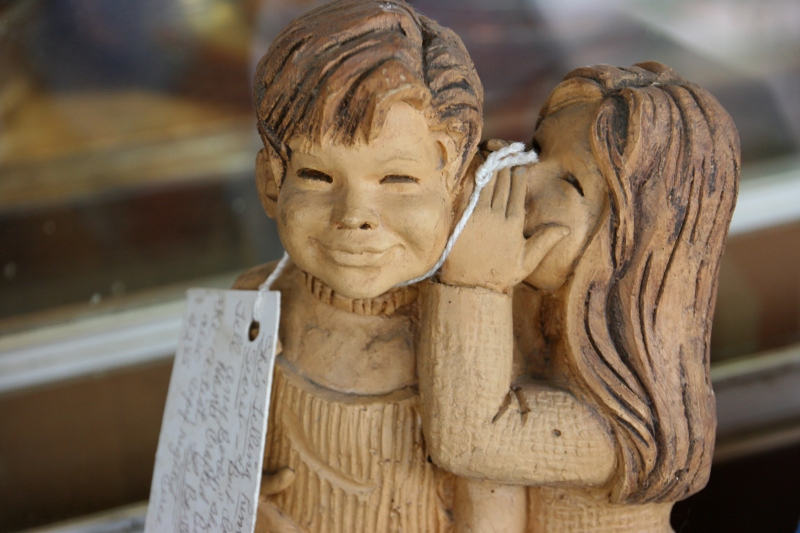 An adorable woodcarving for sale.