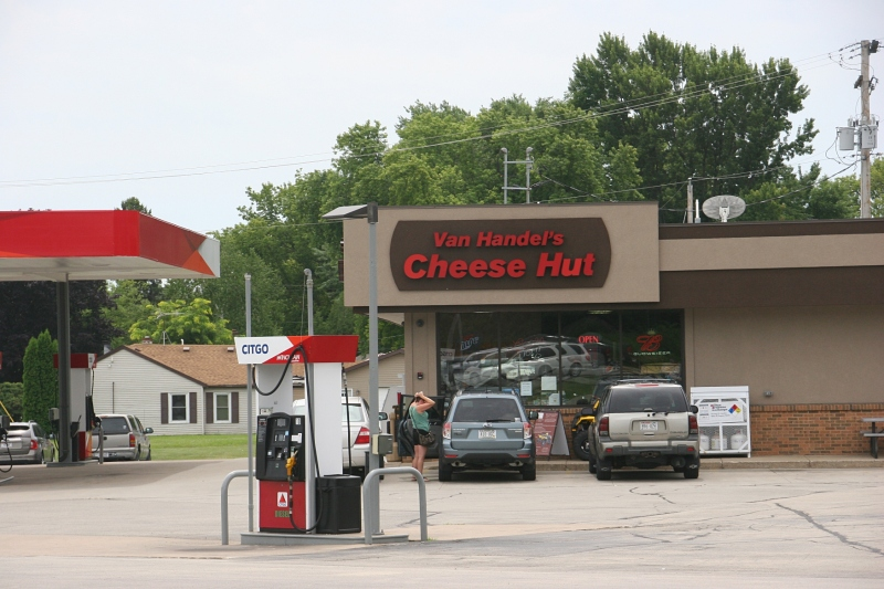 Van Handel's Cheese Hut, also a gas station, is located in Appleton.