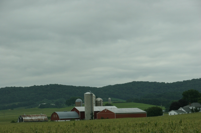 Rolling hills and farms define the land east of La Crosse along Interstate 90 in the southwestern part of Wisconsin..