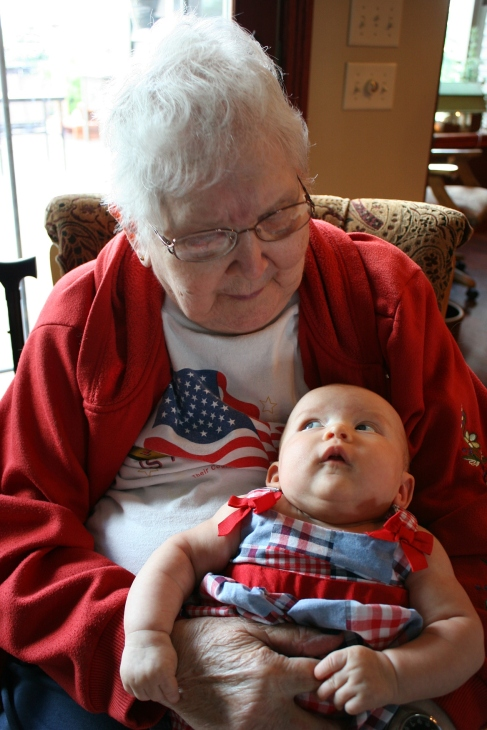 I captured the moment Isabelle looked up with such sweetness at her 83-year-old great grandmother, my mom Arlene.