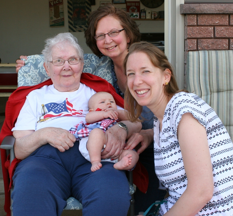 Four generations: Great Grandma Arlene, Grandma Audrey, Mother Amber and baby Isabelle, all together for the first time.