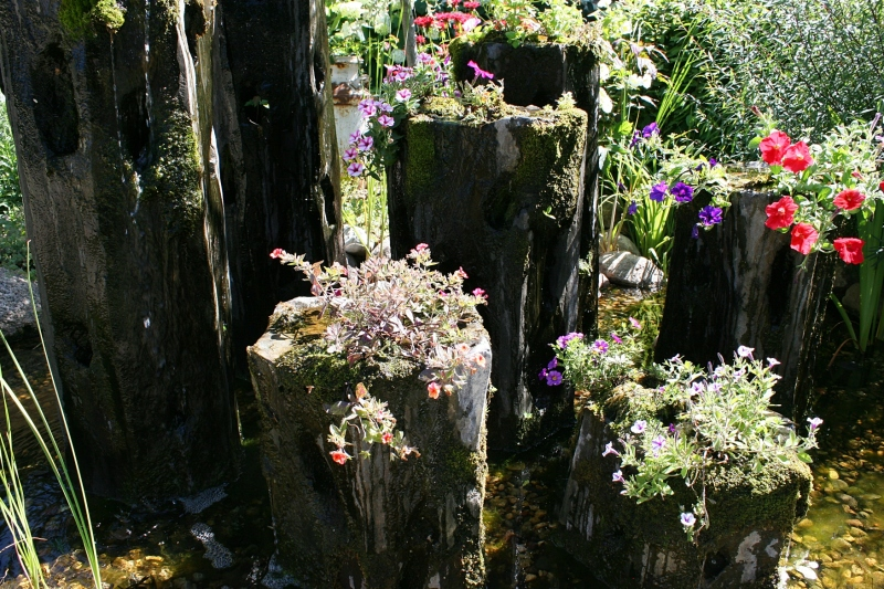 Annuals grow in rock water columns in the sunny front yard.