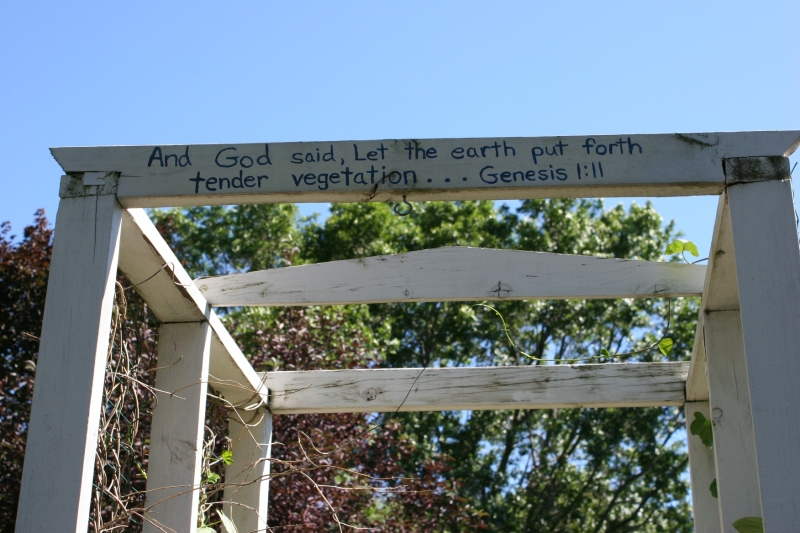 Lawson garden, 137 scripture on trellis