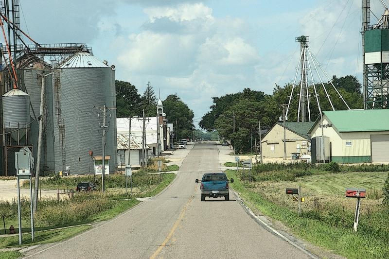 Driving westbound into Nerstrand, Minnesota.