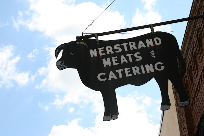 This sign marks the meat market.