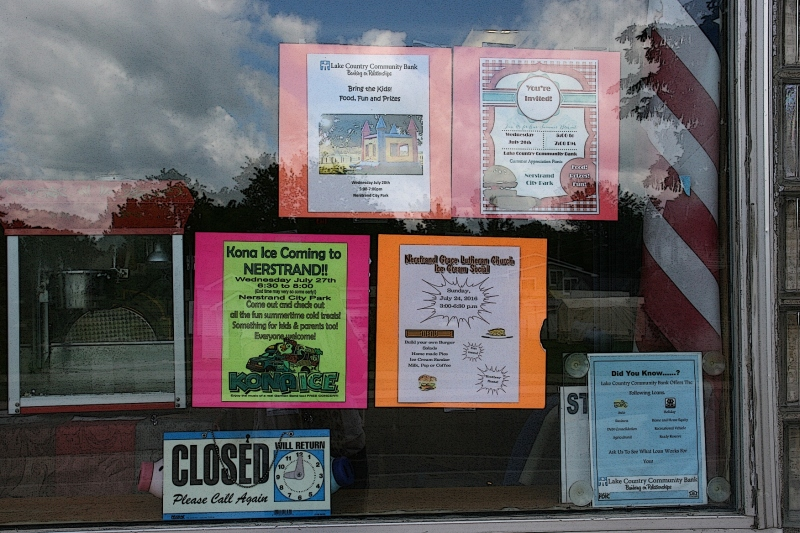 Notices in a storefront window half a block from the meat market. So typical of a small town.