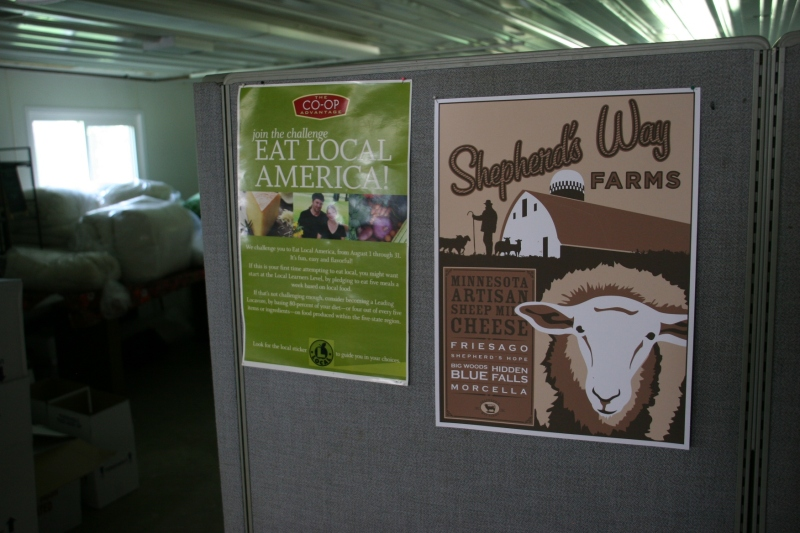 Promotional art showcased inside the on-site store.