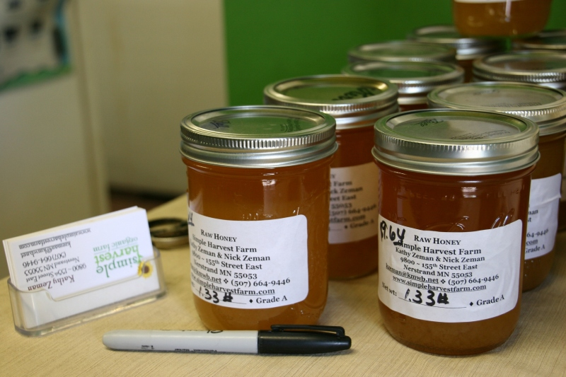 Simple Harvest raw honey available for purchase at the farm.