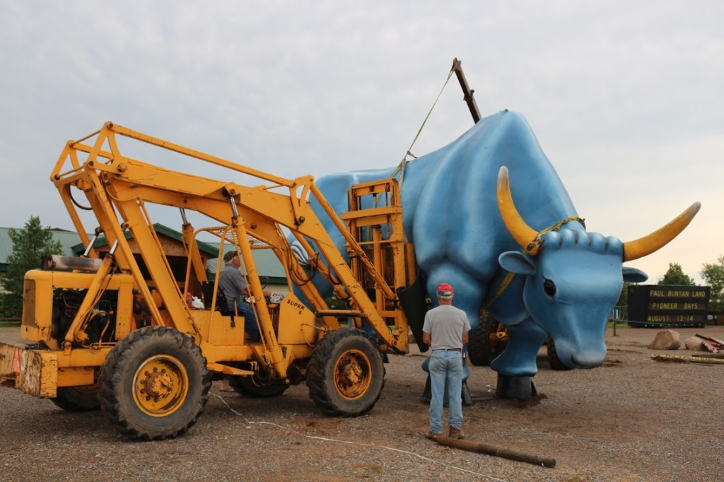 Babe, back on his feet. Photo by Adam Rademacher and courtesy of Paul Bunyan Land.