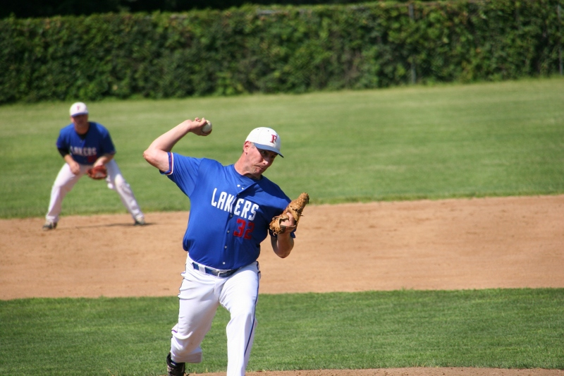 Matt Lane in pitching mode for the Faribault Lakers.