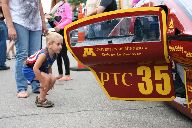 This little guy was enthralled with the University of Minnesota's solar car.