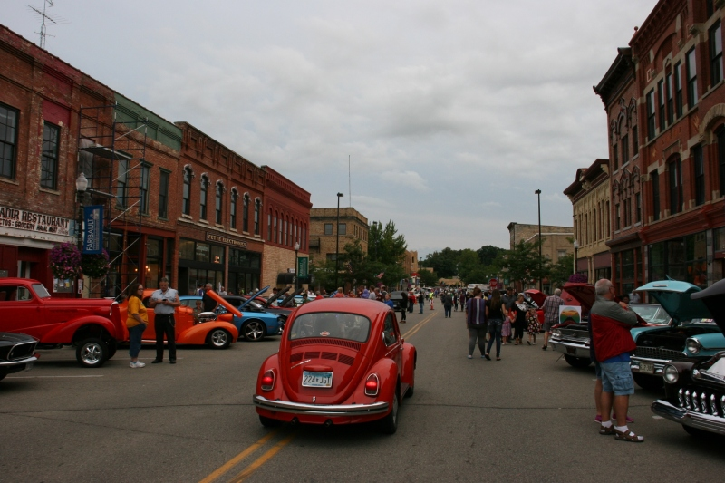The crowd and vehicles stretched for blocks along Faribault's Central Avenue for Car Cruise Night.