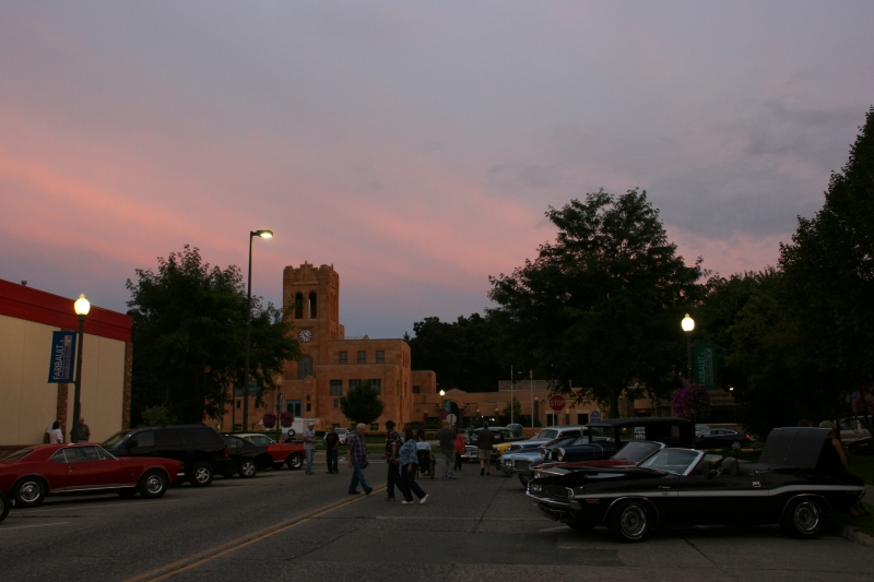 It was a perfect August summer evening in Faribault with the sky tinted red as the sun set, here looking toward the historic Buckham Memorial Library.