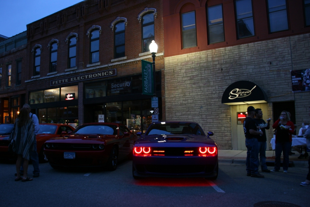 Although certainly not old, this Dodge Challenger Hellcat drew lots of admirers as the headlights changed colors: red, green and purple.