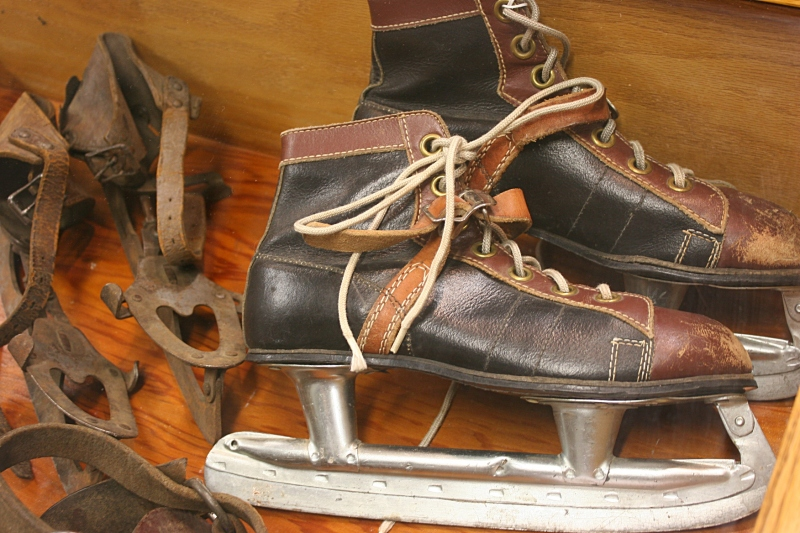 Vintage ice skates were part of the local portion of the exhibit.