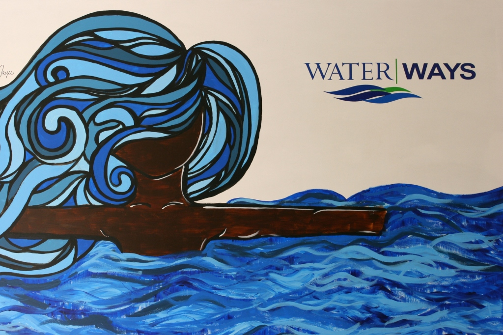 """This """"Water/Ways"""" art directs me to the exhibit at the NCHS."""