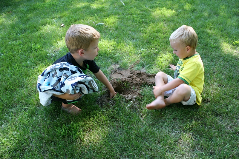 Cousins found a hole in the yard and proceeded to dig and dig.